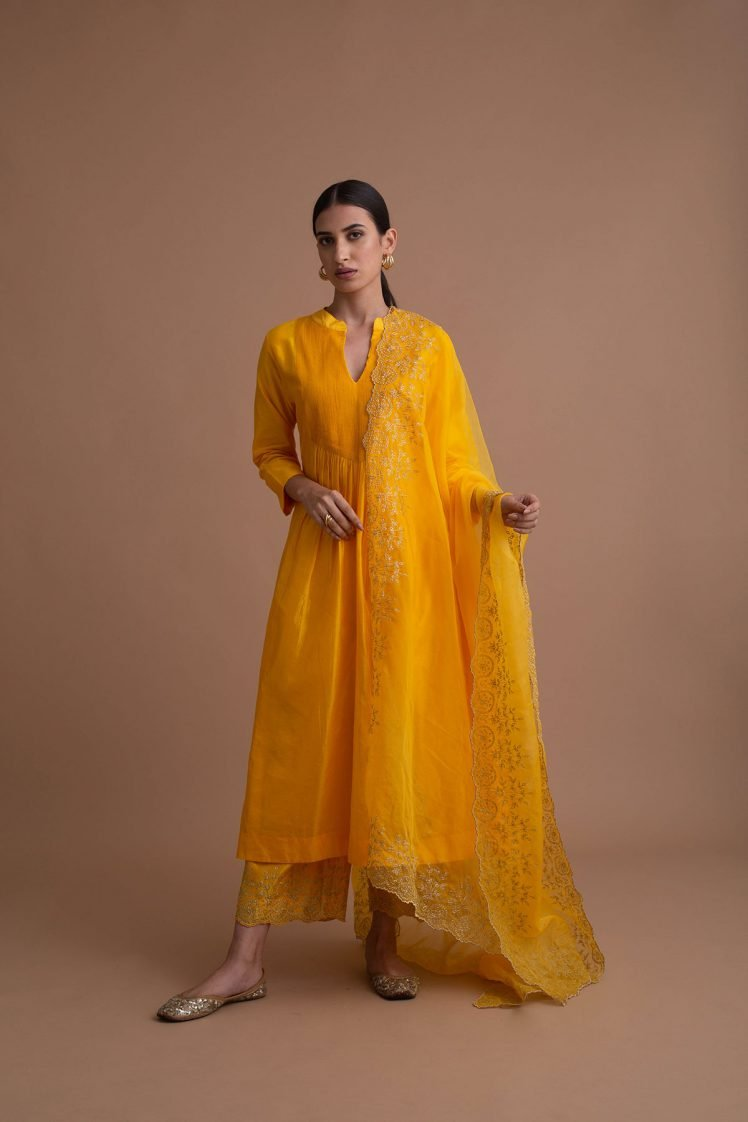 Sunshine Yellow Narrow Pin-Tucked Kurta Set
