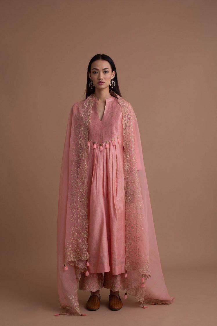 Blush Pink Narrow Pin-Tucked Kurta Set