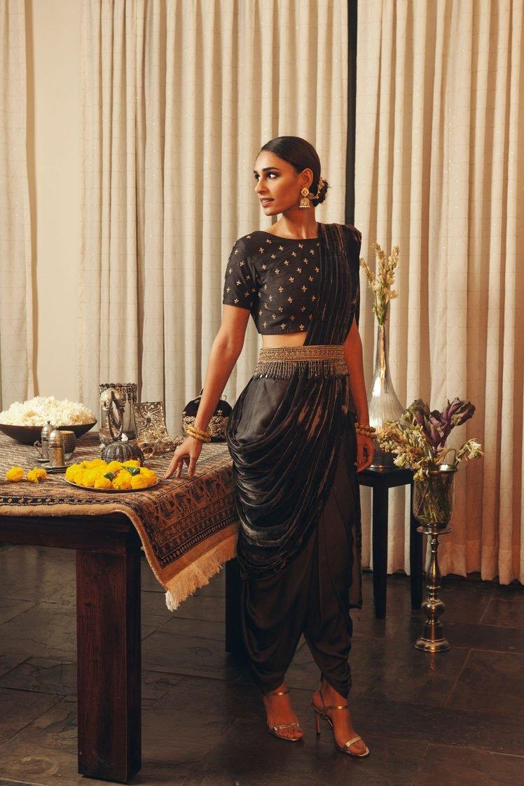 Charcoal Dhoti Saree