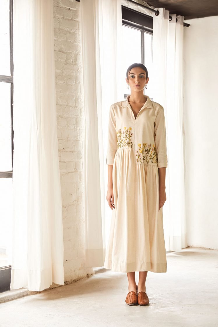Collared Cream Embroidered Dress