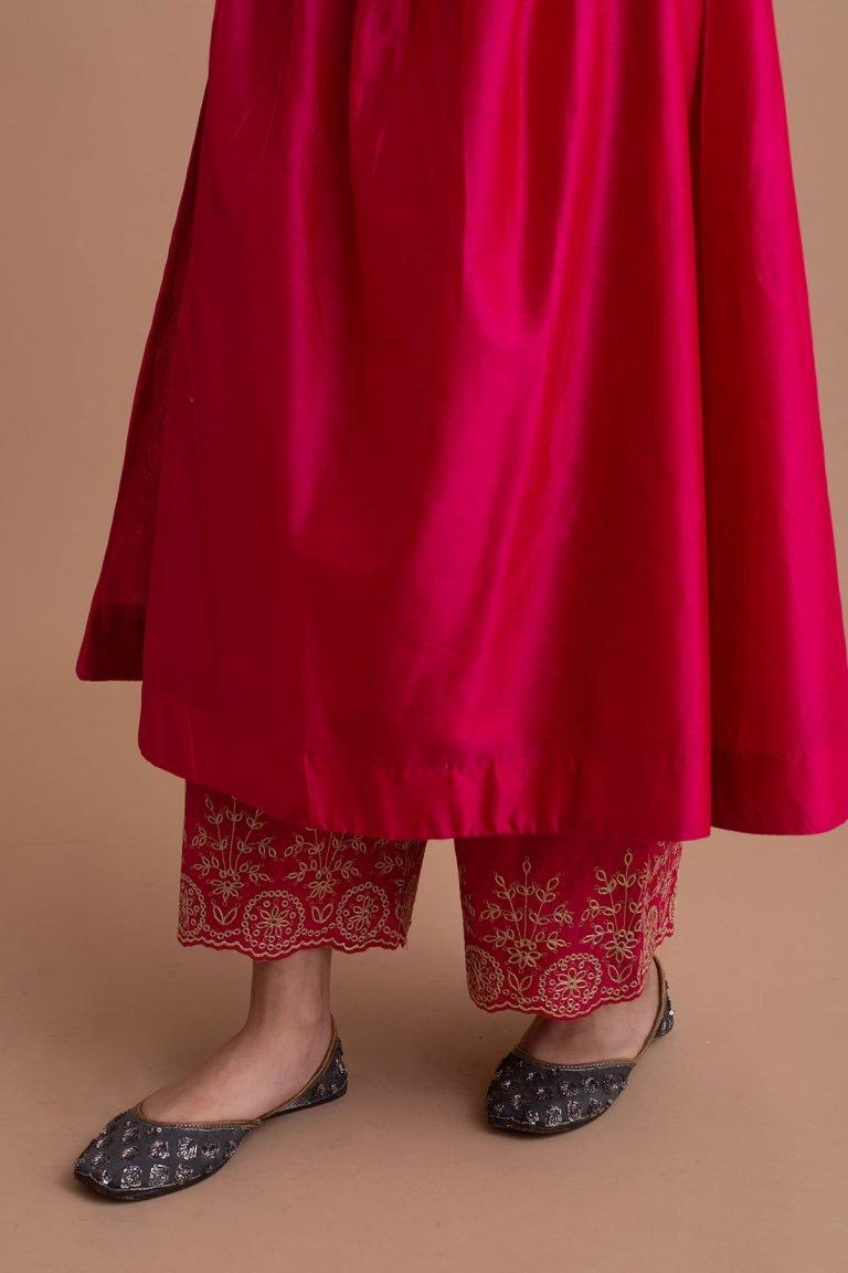 Crimson Magenta Narrow Pin-Tucked Kurta Set