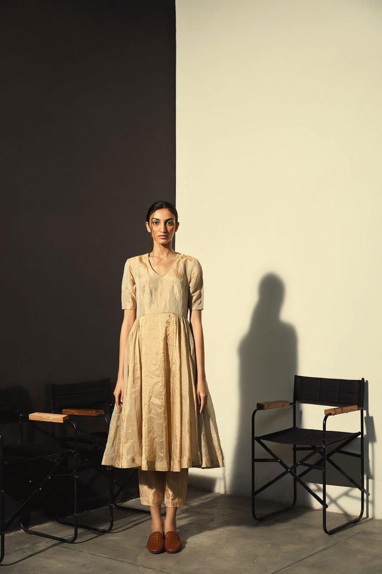 Gold Tissue Silk Dress Set