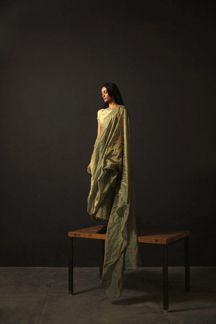 Green Tissue Silk Embroidered Saree