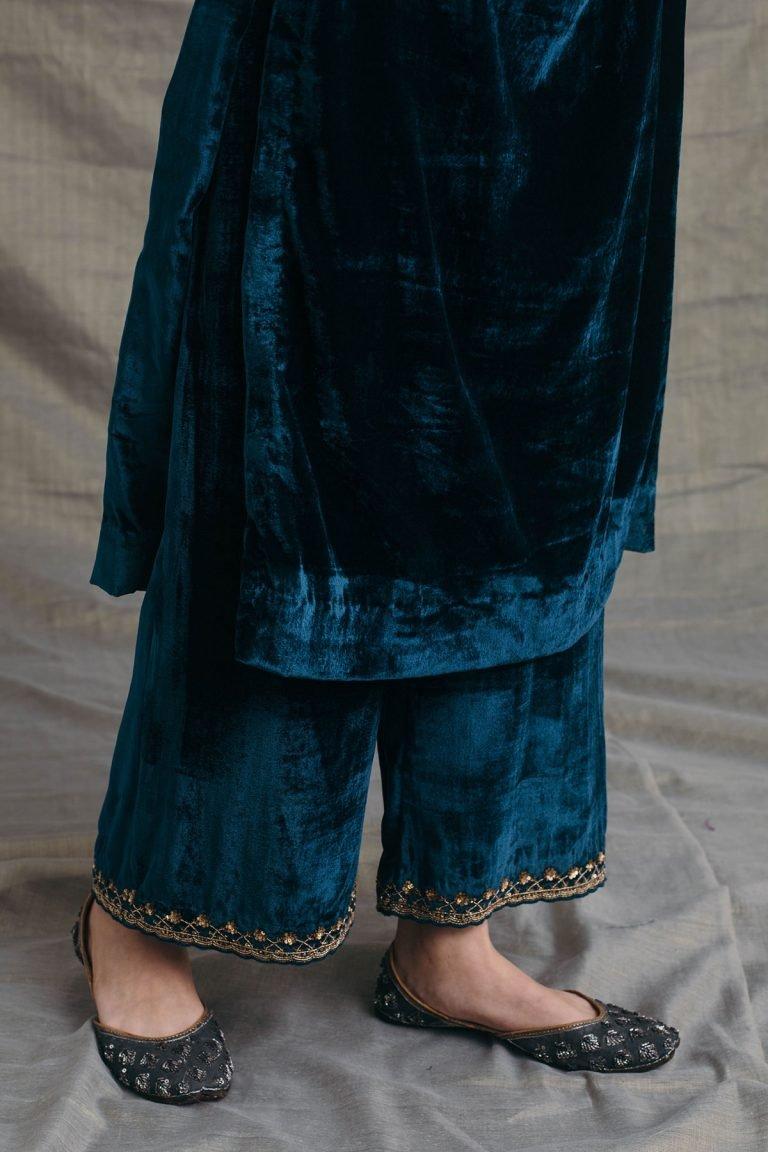 Peacock Blue Silk Velvet Kurta Set