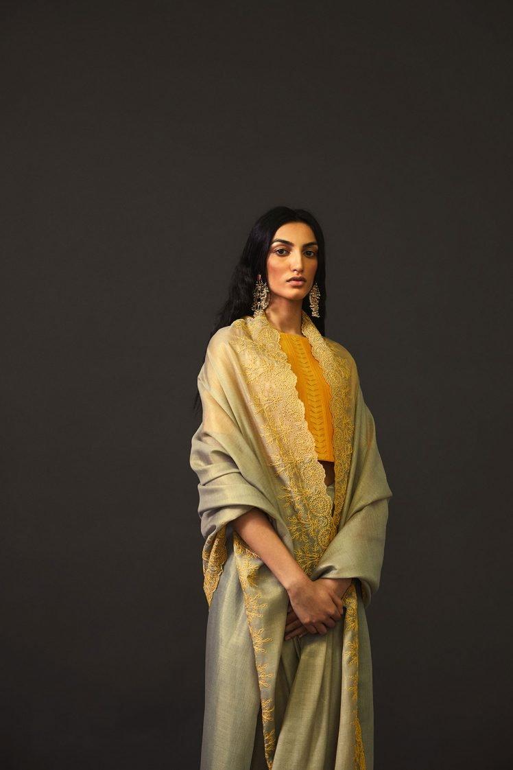 Slate and Yellow Chanderi Saree