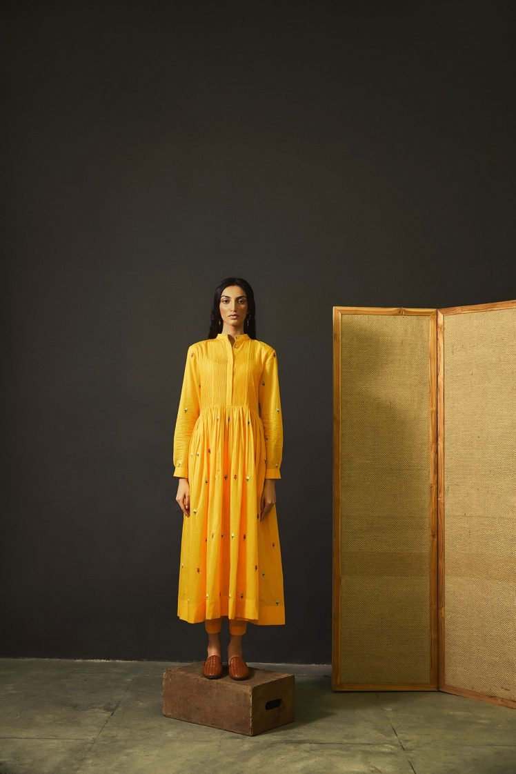 Summery Yellow Embroidered Cotton Dress Set