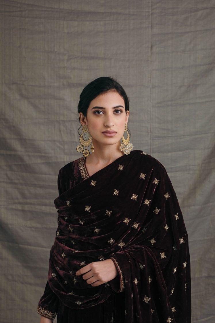 Wine Silk Velvet Embroidered Dupatta