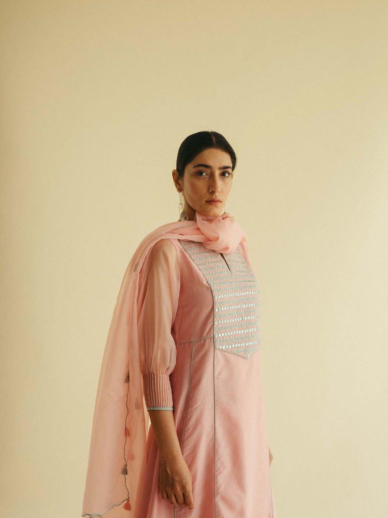 Blush Pink Embroidered Yoke Kurta Set