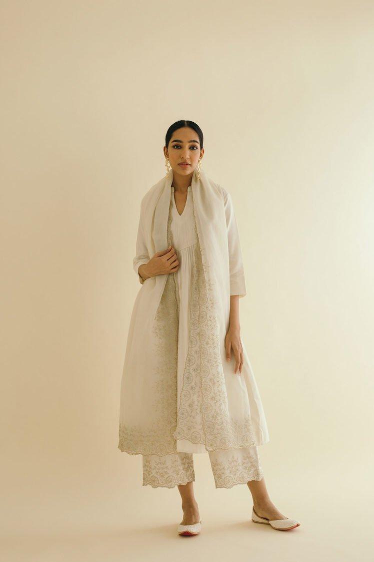 Ivory Silk Chanderi Narrow Pin-Tucked Kurta Set