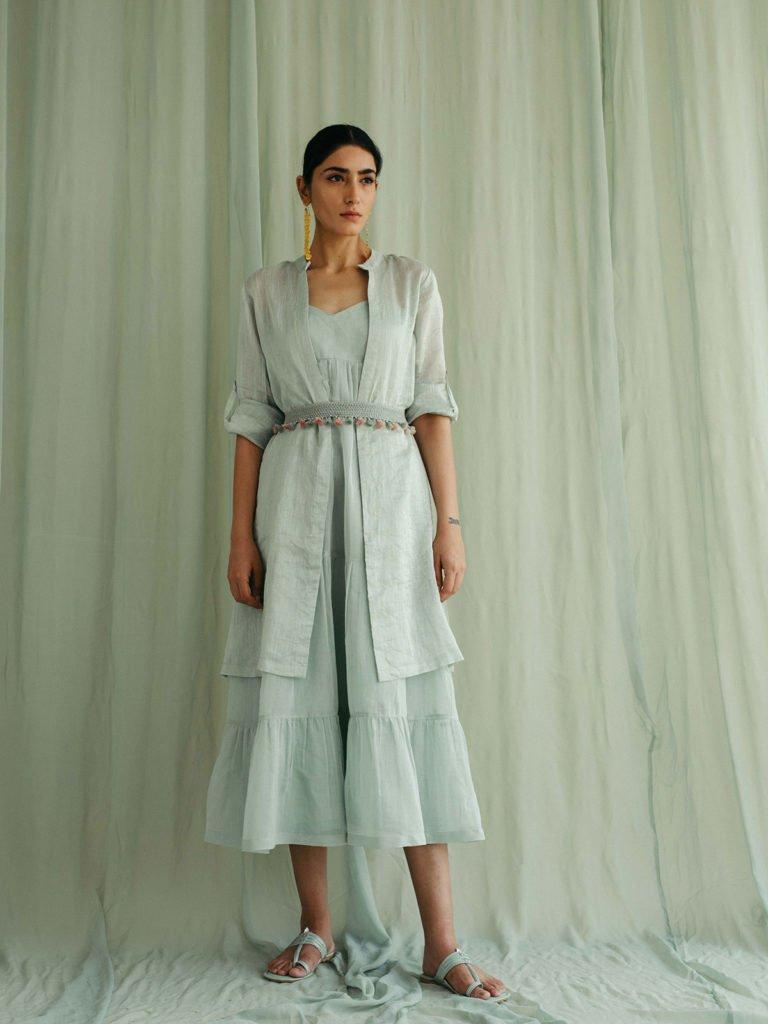 Sea Green Cotton Tier Dress & Overlay