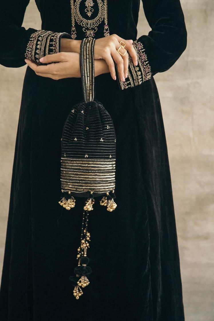 Black Hand Embroidered Silk Velvet Potli