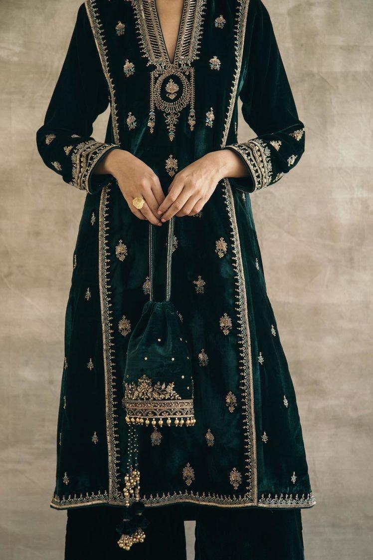 Bottle Green Hand-Embroidered Silk Velvet Potli
