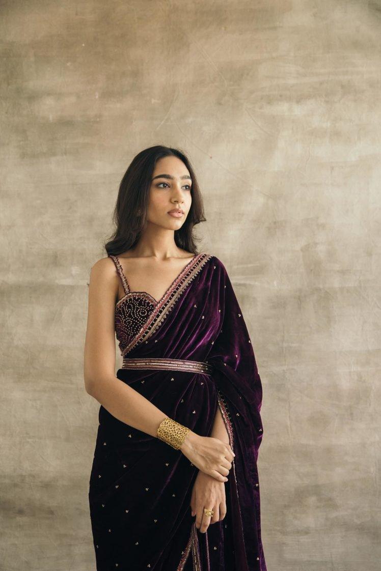 Plum Embroidered Silk Velvet Retro Sari