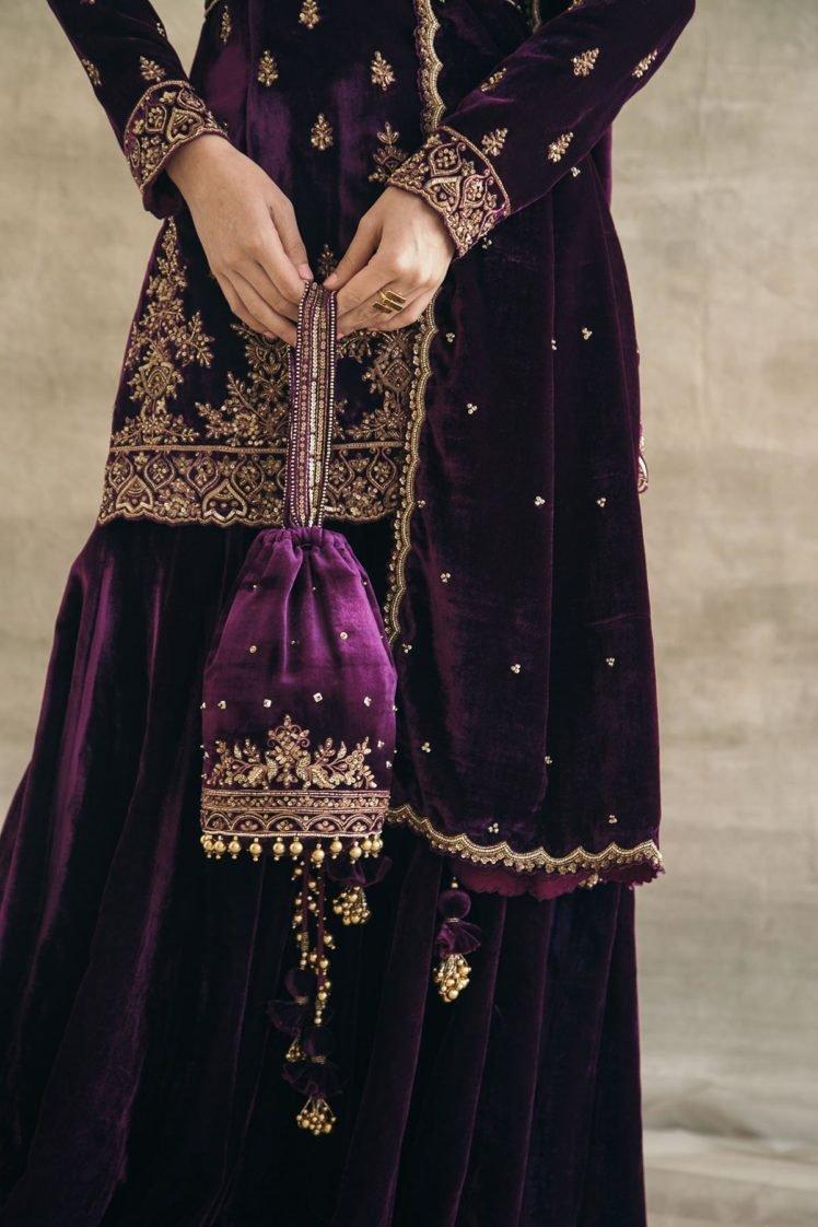 Plum Hand-Embroidered Silk Velvet Potli