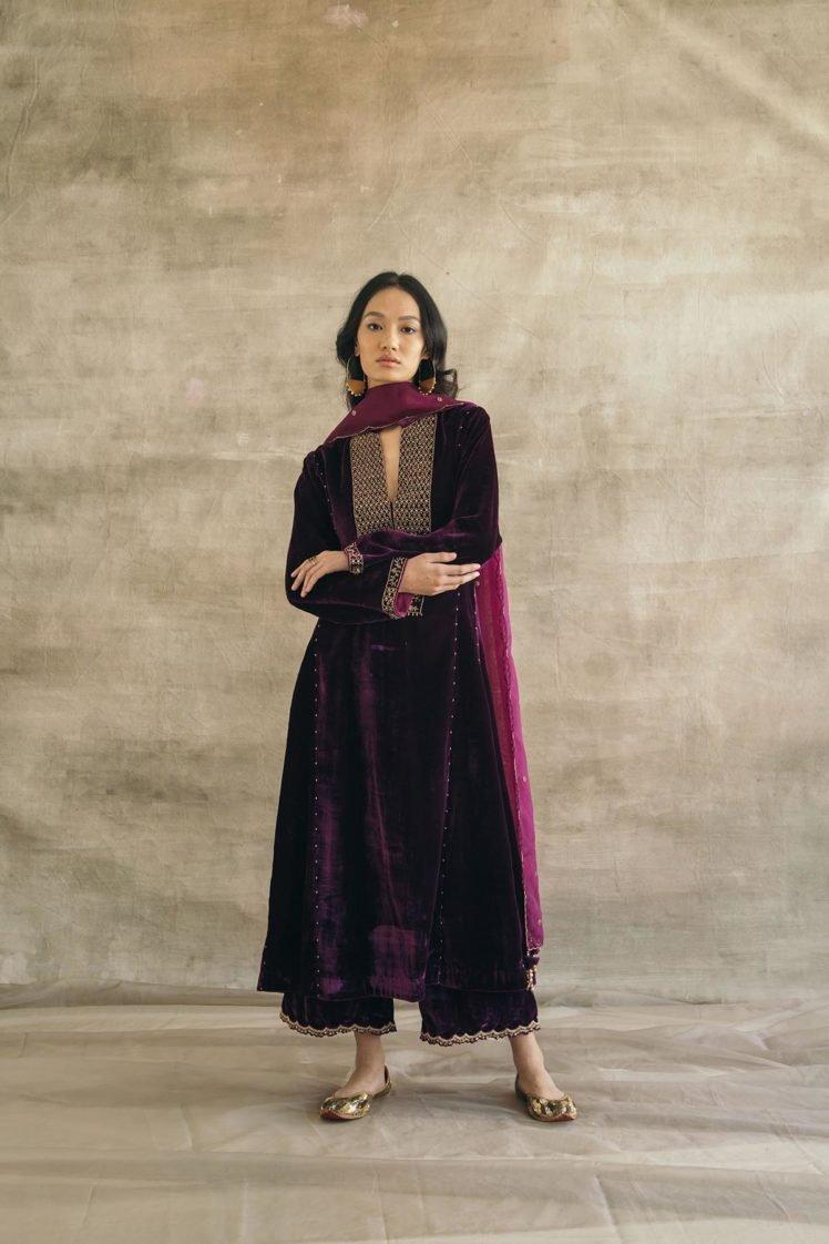 Plum Kalidaar Silk Velvet Kurta Set