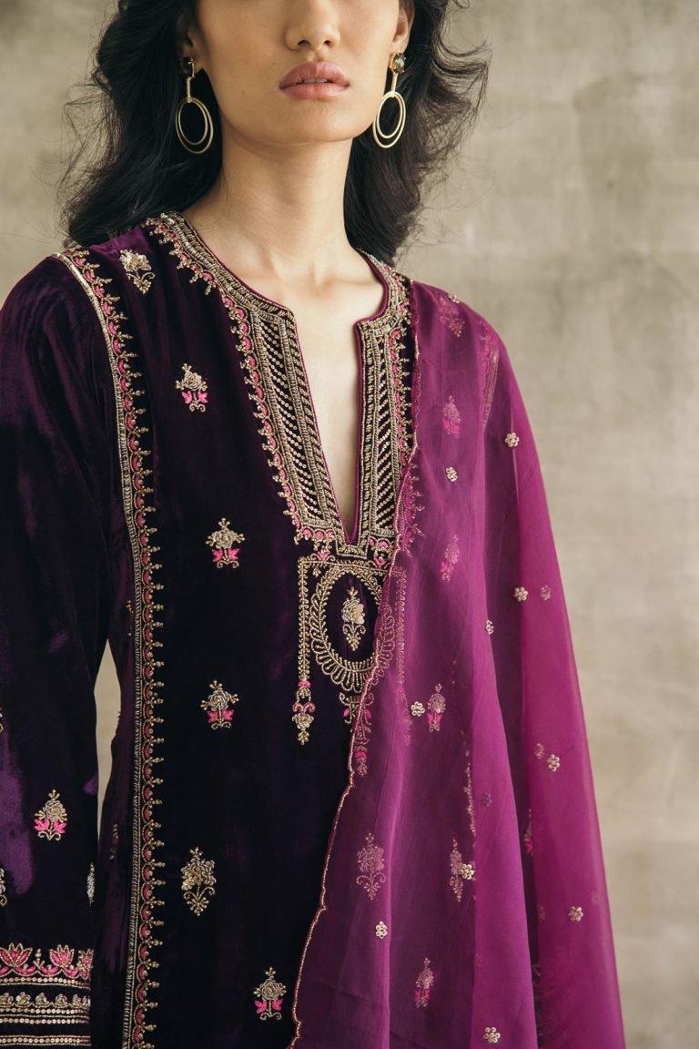 Silk Velvet Embroidered Mughal Kurta Set