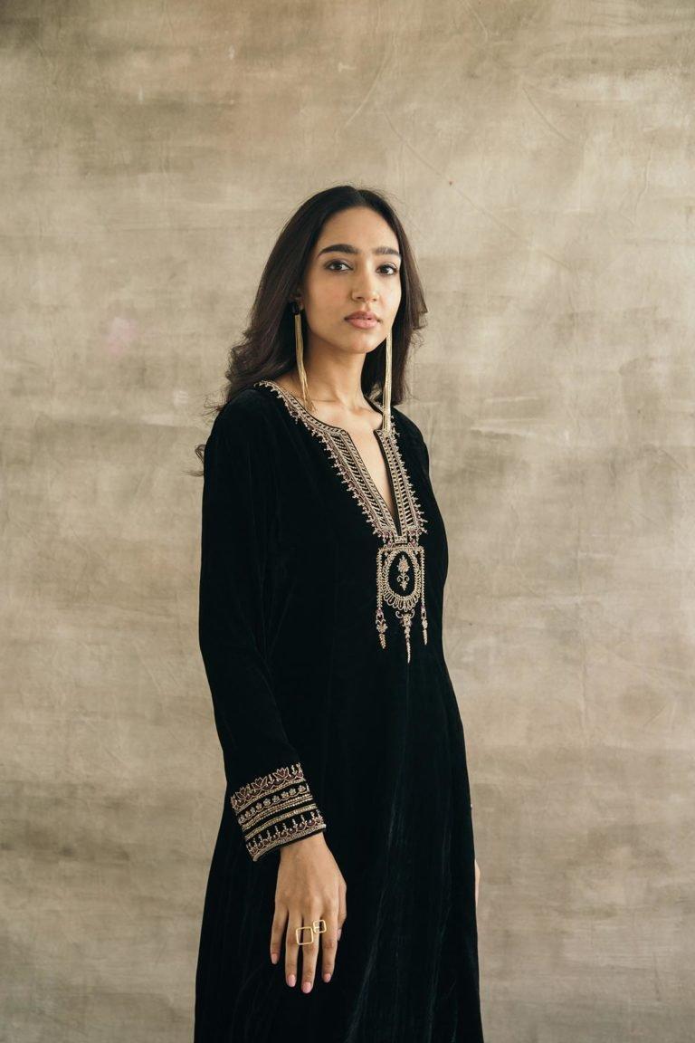 Silk Velvet Mughal Kurta Set