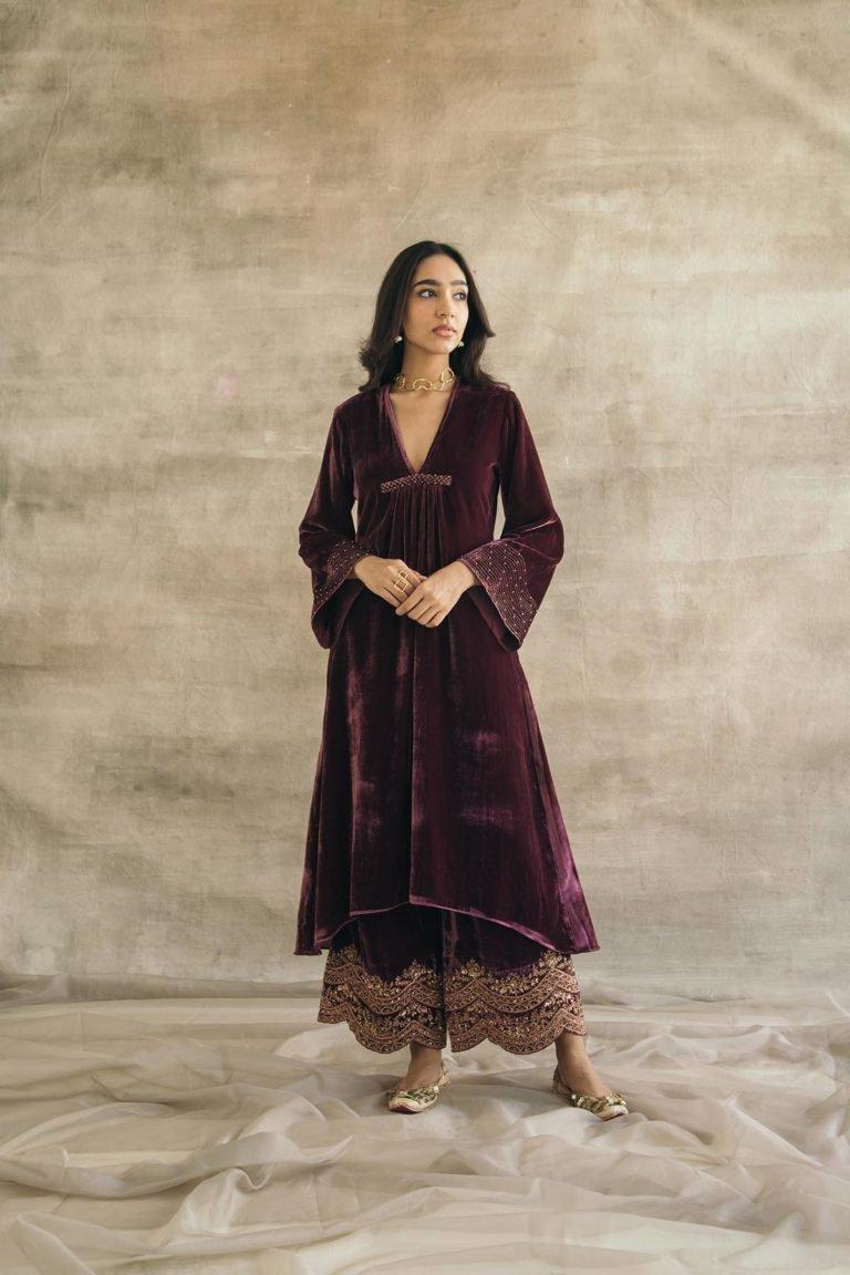Wine Asymmetrical Silk Velvet Kurta Set
