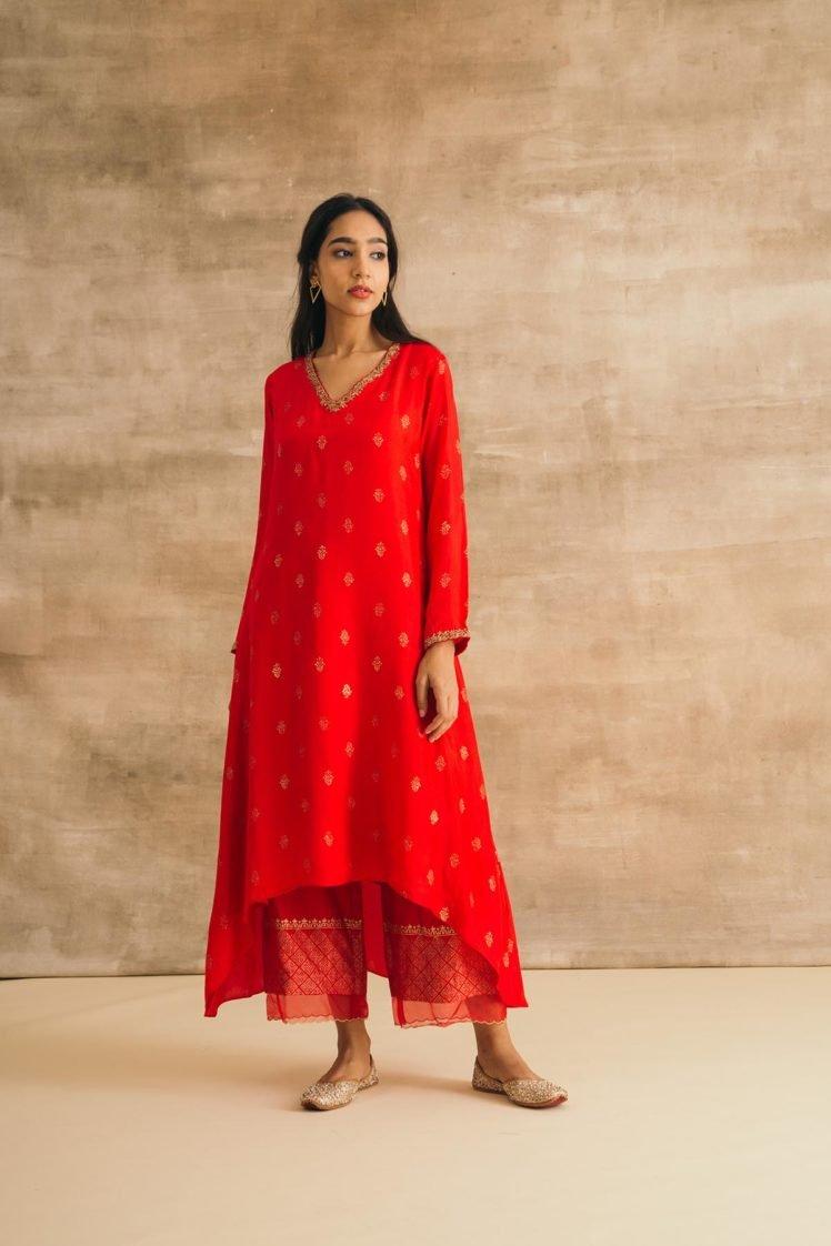 Red Silk Asymmetrical Kurta Set