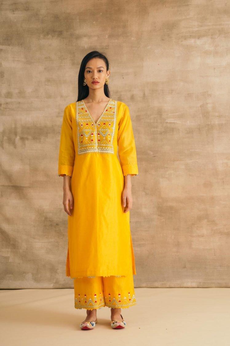 Yellow Contrast Thread Double Yoke Kurta Set