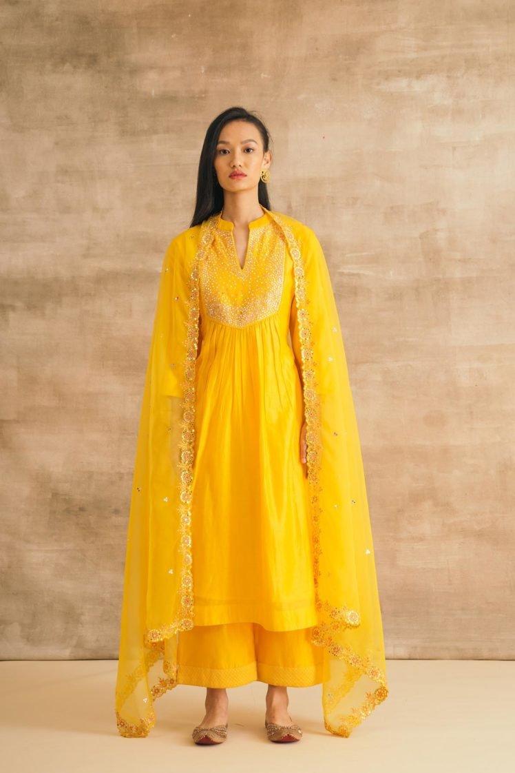 Yellow Embroidered Mirror Yoke Kurta Set