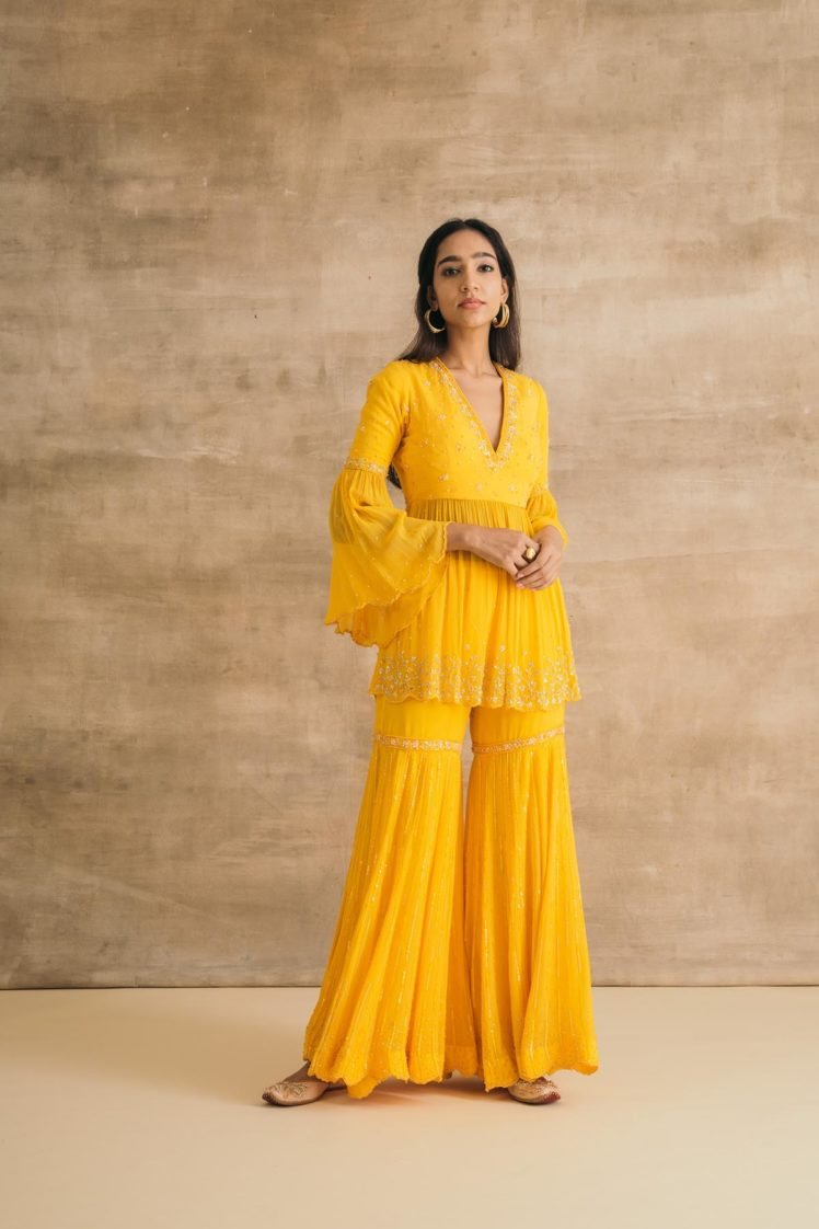 Yellow Georgette Embroidered Peplum Gharara Set