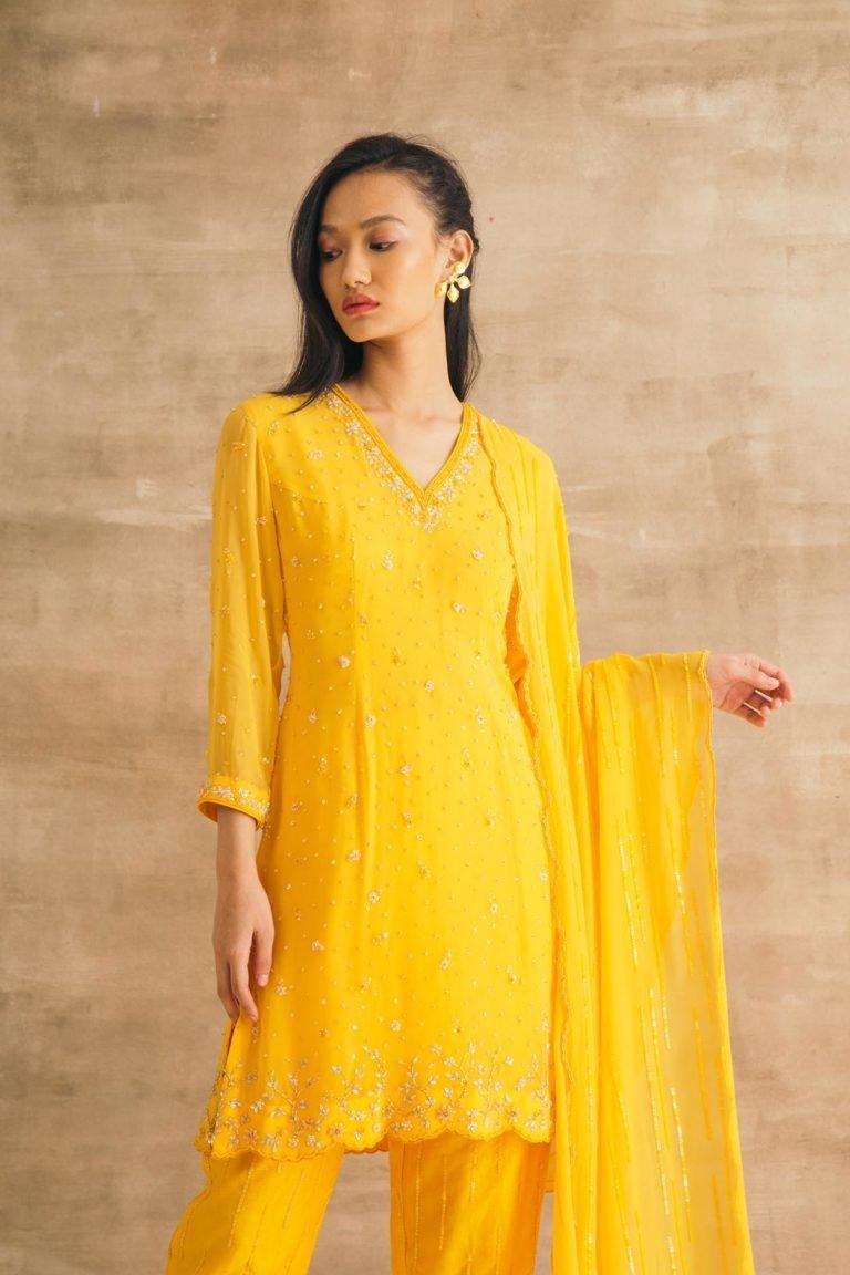 Yellow Sequin Spray Short Kurta Set