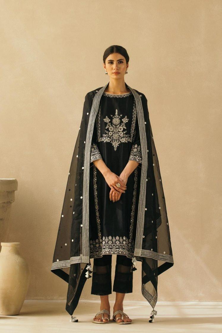 Midnight Black Silk Chanderi Gota Jaal Kurta Set