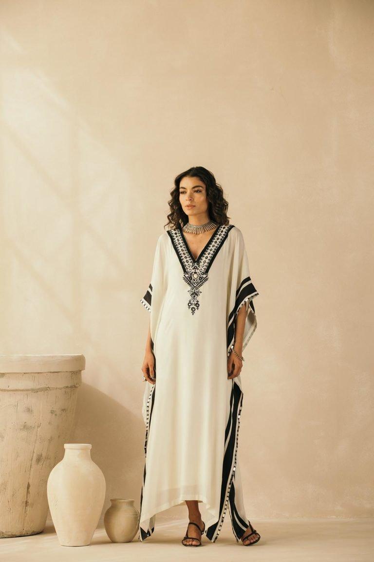 Ebony & Ivory Embroidered Kaftan