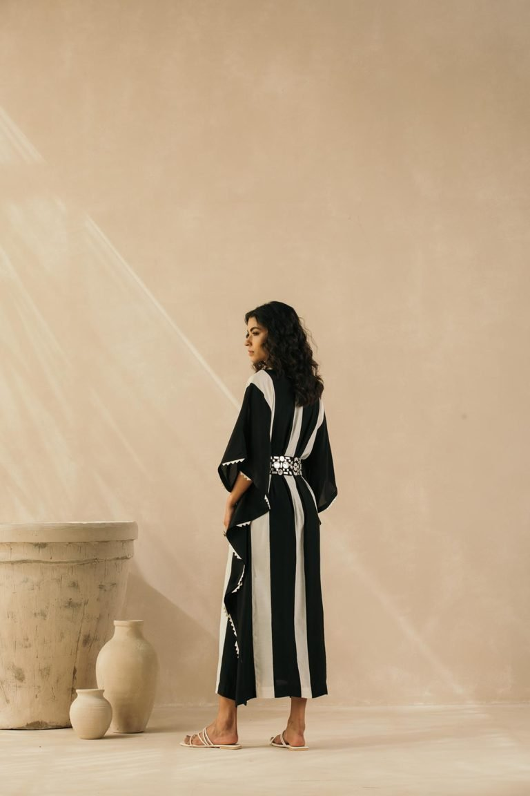 Ebony & Ivory Striped Kaftan
