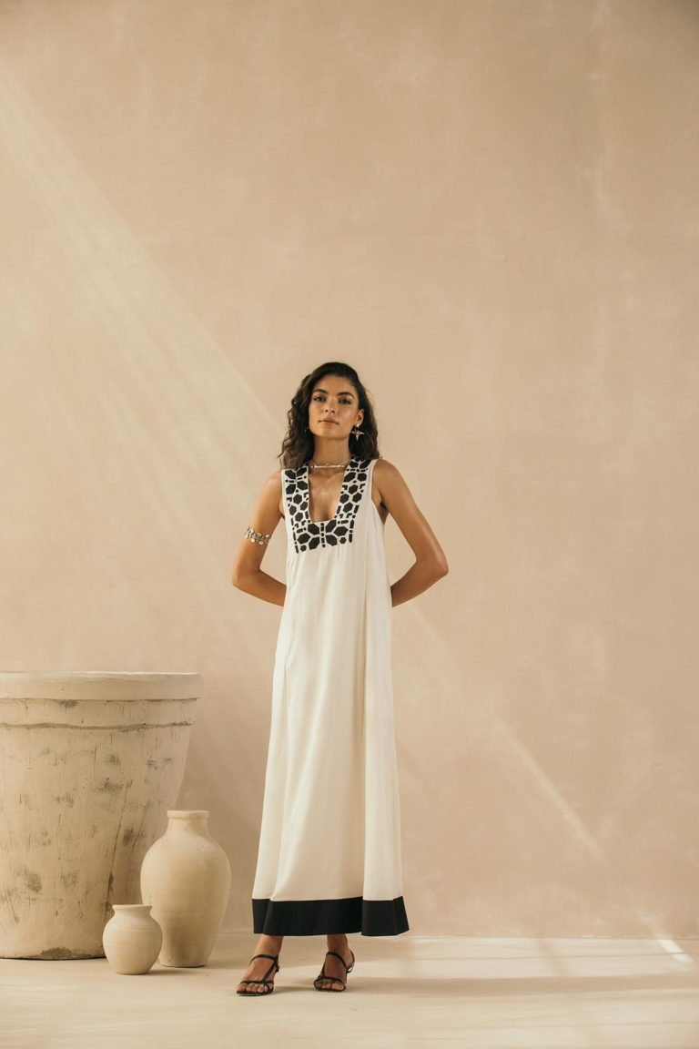 Ivory Abstract Appliqued Sleeveless Dress