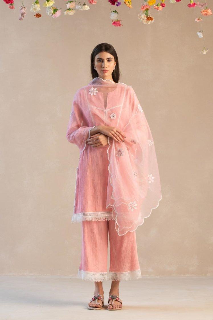 Cotton Gauze & Fringed Lace Kurta Set